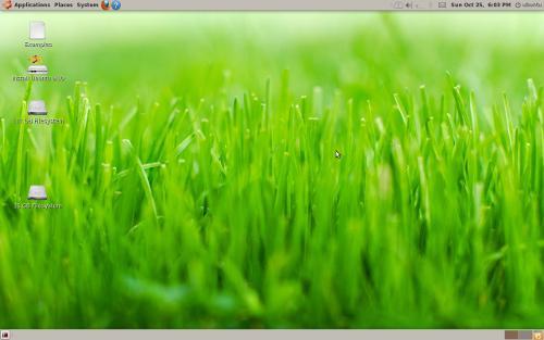 Desktop Ubuntu 9.10 LiveUSB dengan driver VGA NVidia telah diinstall