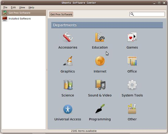 Ubuntu 9.10 Software Centre