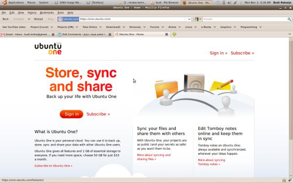 Ubuntu One HomePage